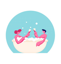 Couple young man and woman sitting in bathtub vector