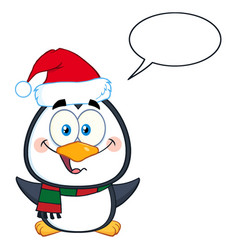 cute christmas penguin cartoon character vector image
