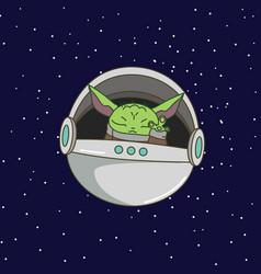 cute green alien in flying capsule vector image