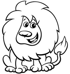 cute lion animal character cartoon color book vector image
