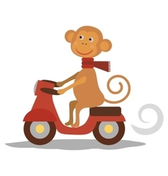 cute monkey with scarf on transport Vecor vector image