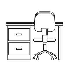 desk and chair office work outline vector image
