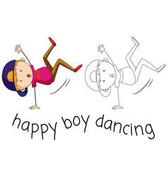 Doodle boy character dancing vector