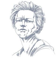 Drawing angry woman with stylish haircut black vector