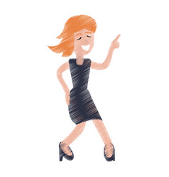 drawing funny girl dance happiness vector image