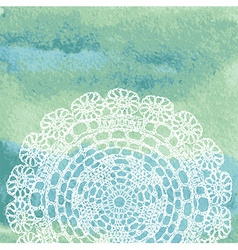 Elegant lacy doily on watercolor background vector