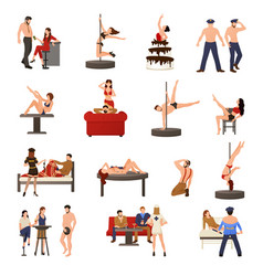 Exotic dancer icon set vector