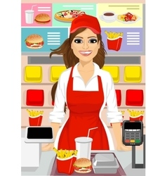 female cashier at fast food restaurant vector image
