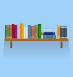 flat brown bookshelf with old books isolated on vector image
