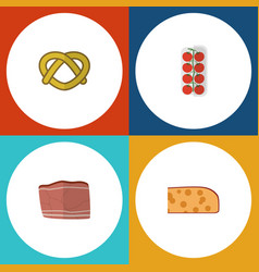 Flat icon meal set of beef tomato cheddar slice vector