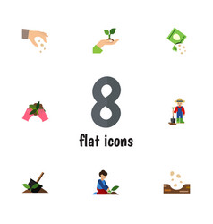 Flat icon seed set of sow plant packet and other vector
