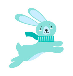 Fluffy rabbit with long ears in warm scarf jumps vector