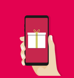 Gift box in smartphone screen vector