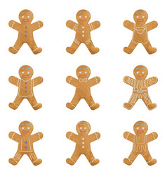 Gingerbread man holiday cookie set christmas vector