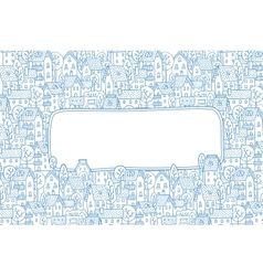 Greeting card with city pattern and a window for vector image