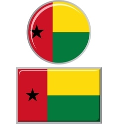 Guinea-Bissau round and square icon flag vector