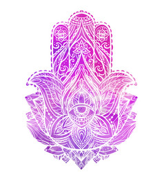 hamsa with boho pattern and pink vector image