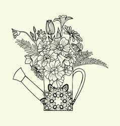Hand drawn decorated image watering can with flowe vector image