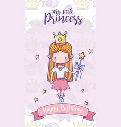 Happy birthday with cute princess card vector