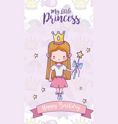 Happy birthday with cute princess card vector