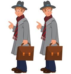 Happy cartoon man standing in gray hat with vector image