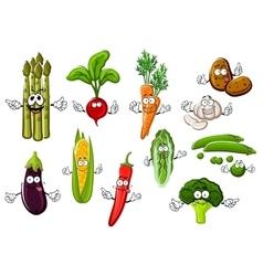 Happy farm vegetables cartoon characters vector