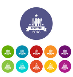 happy new year lettering icons set color vector image