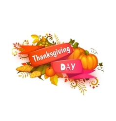 Happy thanksgiving day banner with ribbon and vector