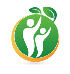 Healthy nature green man logo symbol vector