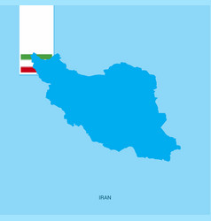 Iran country map with flag over blue background vector