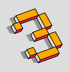 isometric 3 number vector image