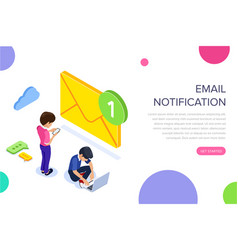 isometric flat email notification concept email vector image