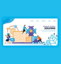 Landing page design coding for problem solving vector