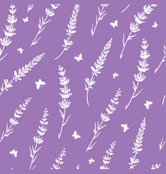 Lavender flowers silhouettes seamless vector