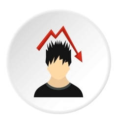 Male avatar and arrow down icon flat style vector