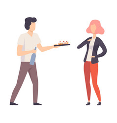 Man and woman at a party eating cake and drinking vector