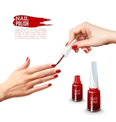 Manicure nail polish hands realistic poster vector