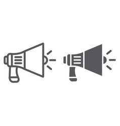 megaphone line and glyph icon announcement and vector image