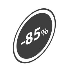 Minus 85 percent sale black emblem icon isometric vector