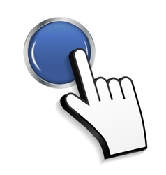 Mouse Hand Cursor on Circle Glossy Button vector