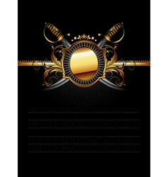 Ornate frame with star and sabers vector