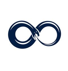 Ouroboros snake in a shape infinity symbol vector