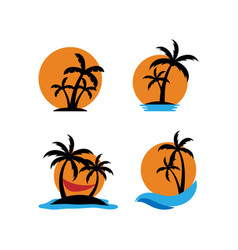 palm tree sunset icon set design template vector image