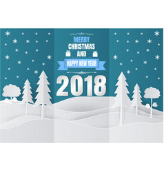Paper art style snowflake and tree for christmas vector