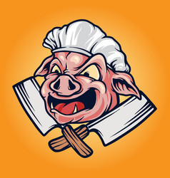 pig chef barbecue bbq mascot logo vector image
