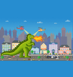 pixel game dragon character with flames vector image