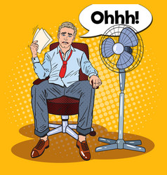 Pop art sweating businessman in front of fan vector