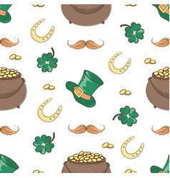 pot of gold saint patrick day cartoon seamless vector image