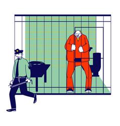 prisoner in prison jail concept policeman vector image