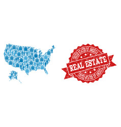 Real estate collage of mosaic map of usa and vector